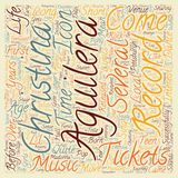 Word Cloud Text Background Concept. Christina Aguilera Tickets The Teen Icon Comes Of Age text background wordcloud concept Royalty Free Stock Photo