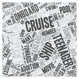 Word Cloud Text Background Concept. Cruise Ship Activities Geared Towards Teenagers text background wordcloud concept Stock Images