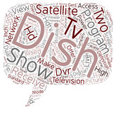 Word Cloud Text Background Concept. Dish hdtv satellite receiver text background wordcloud concept Stock Photo