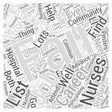 Word Cloud Text Background Concept. Finding your way in nursing career fair word cloud concept Stock Image