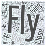 Word Cloud Text Background Concept. Fly tying tips and tools word cloud concept Stock Photo