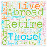 Word Cloud Text Background Concept. How to Plan Your Retirement Abroad text background wordcloud concept Royalty Free Stock Images