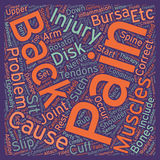 Word Cloud Text Background Concept. Injuries and Back Pain text background wordcloud concept stock illustration