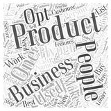Word Cloud Text Background Concept. JP building a hyper responsive opt in list word cloud concept Stock Image