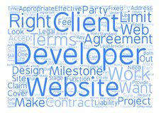 Word Cloud Text Background Concept. Key Considerations in Web Site Development Agreements text background word cloud concept Stock Images