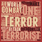 Word Cloud Text Background Concept. Let us learn to live with gorilla terrorism text background wordcloud concept Royalty Free Stock Photography