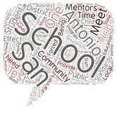 Word Cloud Text Background Concept. Mentors And Partners In The San Antonio Schools text background wordcloud concept Stock Image
