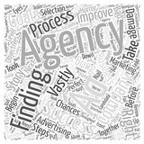 Word Cloud Text Background Concept. The Steps to Finding the Perfect AD Agency word cloud concept Stock Image