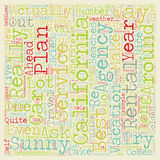 Word Cloud Text Background Concept. Sunny California Coast Car Rental Services text background wordcloud concept vector illustration