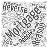 Word Cloud Text Background Concept. Top Reasons People Get Reverse Mortgages text background wordcloud concept Royalty Free Stock Photography