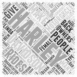 Word Cloud Text Background Concept. What Type of Person Owns a Harley Davidson Motorcycle word cloud concept Stock Image