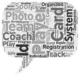 Word Cloud Text Background Concept. Why Have ID Cards in Youth Sports text background wordcloud concept Stock Images