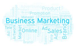 Word cloud with text Business Marketing. Wordcloud made with text only stock image