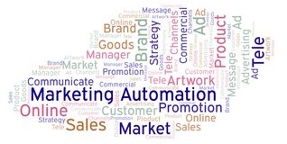 Word cloud with text Marketing Automation. Wordcloud made with text only royalty free illustration