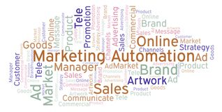Word cloud with text Marketing Automation. Wordcloud made with text only vector illustration