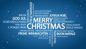 Word cloud Merry Christmas. Word cloud with text Merry Christmas in different languages, in the middle one oversized and bold written in English Royalty Free Stock Photography
