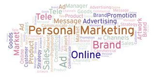 Word cloud with text Personal Marketing. Wordcloud made with text only vector illustration