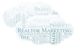 Word cloud with text Realtor Marketing. Wordcloud made with text only vector illustration