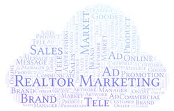 Word cloud with text Realtor Marketing. Wordcloud made with text only stock illustration