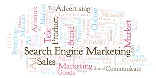 Word cloud with text Search Engine Marketing. Wordcloud made with text only vector illustration