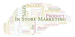 Word cloud with text In Store Marketing. Wordcloud made with text only stock photography
