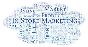 Word cloud with text In Store Marketing. Wordcloud made with text only royalty free stock photo