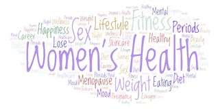Word cloud with text Women's Health on a white background. Women's Health word cloud - illustration made with text only stock illustration