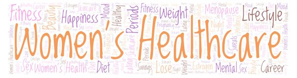 Word cloud with text Women's Healthcare in a form of banner on a white background. Women's Healthcare in a form of banner word cloud - illustration made with stock illustration