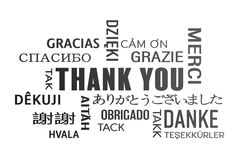 Word cloud  - thank you - black. Word cloud  - thank you in different languages - black Royalty Free Stock Photos