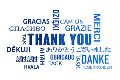 Word cloud  - thank you - blue Royalty Free Stock Photography
