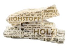 Word cloud with three pieces of wood as background and relevant german keywords on the subject of raw material wood. Isolated on white background stock photos