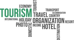 Word cloud - tourism. A word cloud of tourism related items vector illustration