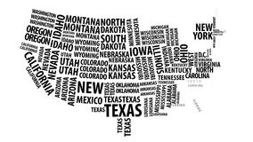 Word cloud of the United States map with alpha channel in 4k resolution