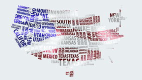 Word cloud of the United States map with USA flag texture in 4k resolution. Animation is generated in After Effects stock footage