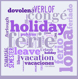 Word Cloud Vacation in different languages Royalty Free Stock Photos