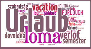 Word Cloud Vacation in different languages Royalty Free Stock Image