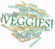 Word cloud for Vegetables or Veggies Stock Image