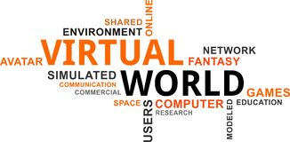 Word cloud - virtual world Stock Images