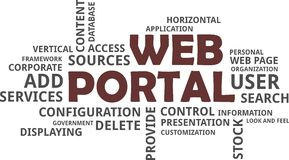 Word cloud - web portal. A word cloud of web portal related items Stock Photos