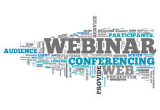 Word Cloud Webinar. Word Cloud with Webinar related tags Stock Image