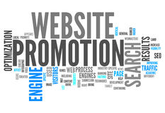 Word Cloud Website Promotion. Word Cloud with Website Promotion related tags Stock Photo