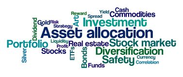 Asset Allocation. Word Cloud on a white background - Asset Allocation Royalty Free Stock Images