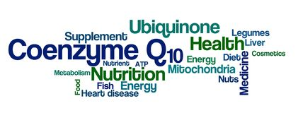 Word Cloud on a white background - Coenzyme Q10 Stock Photo