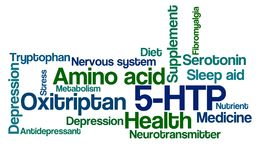 Word Cloud on a white background - 5-HTP. A Word Cloud on a white background - 5-HTP Stock Photo