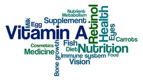 Word Cloud on a white background - Vitamin A Stock Photo