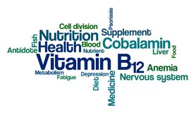 Word Cloud on a white background - Vitamin B12. A Word Cloud on a white background - Vitamin B12 Royalty Free Stock Photo