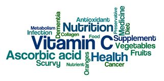 Word Cloud on a white background - Vitamin C Royalty Free Stock Images