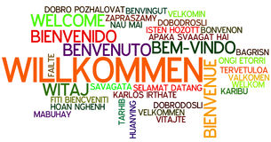 Word Cloud Willkommen. Word Cloud `Willkommen/Welcome` German Royalty Free Stock Photos