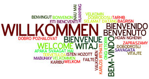 Word Cloud Willkommen. Word Cloud `Willkommen/Welcome` German Stock Photography