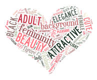 Word cloud - woman. Word cloud for term woman in love curve Royalty Free Stock Photo